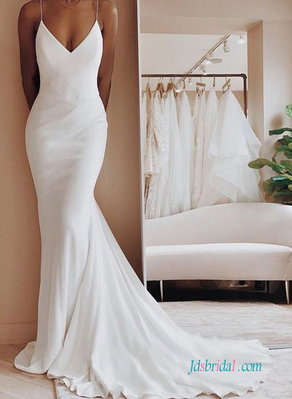H0578 Simply sexy mermaid wedding dress with low back