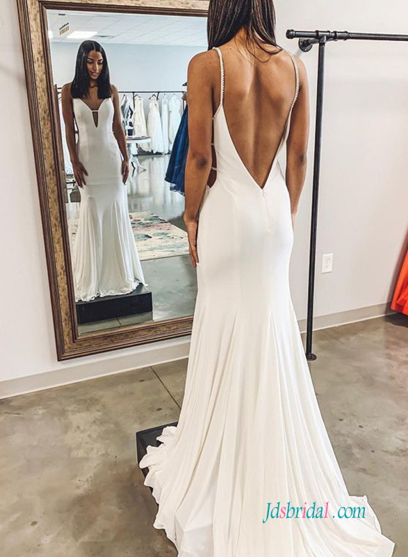 H0581 Sexy simple low back mermaid wedding dress
