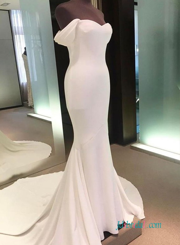 H0582 Simple off the shoulder mermaid wedding dress