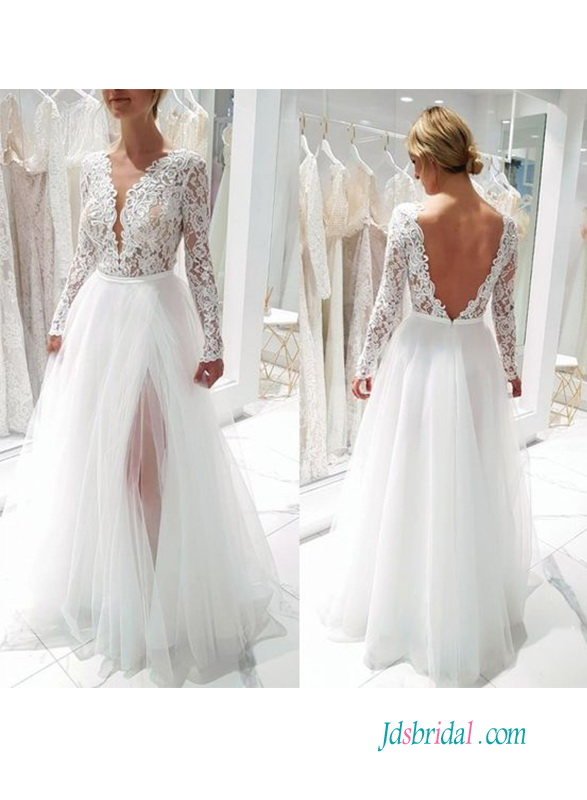 H0585 Sexy open back illusion lace slit wedding dress