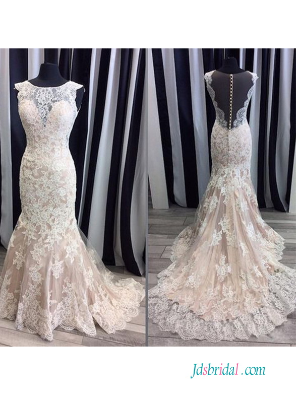 H0588 Sexy champagne and ivory sheer back lace wedding dress