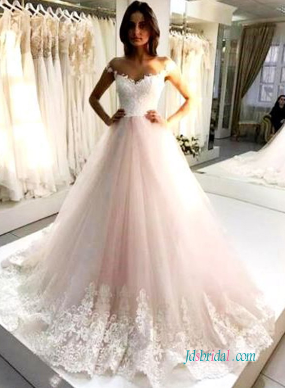 H0589 Pink And White Off The Shoulder Princess Wedding Dress
