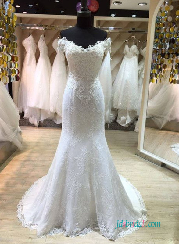 H0590 beautiful lace mermaid wedding dress on sale