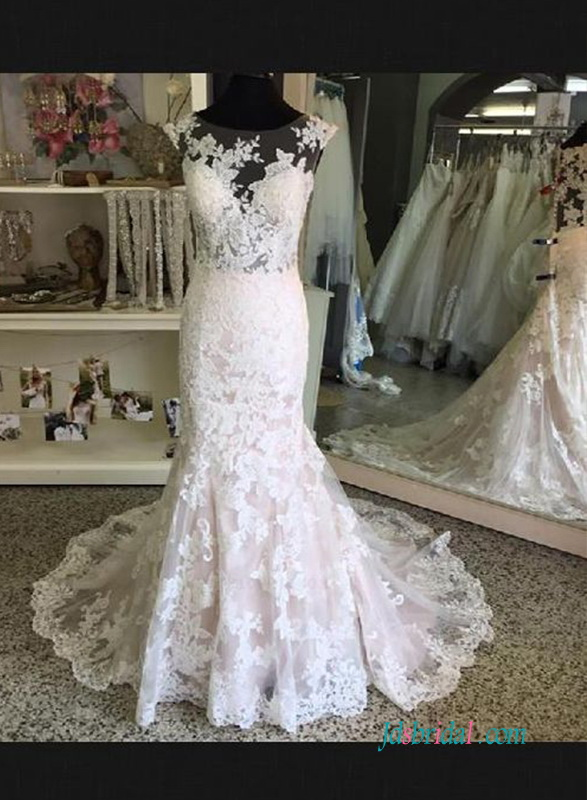 H0591 Sexy illusion lace mermaid wedding dress