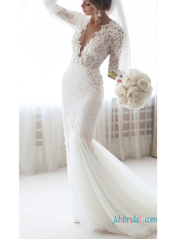H0594 Sexy long sleeved illusion lace mermaid wedding dress