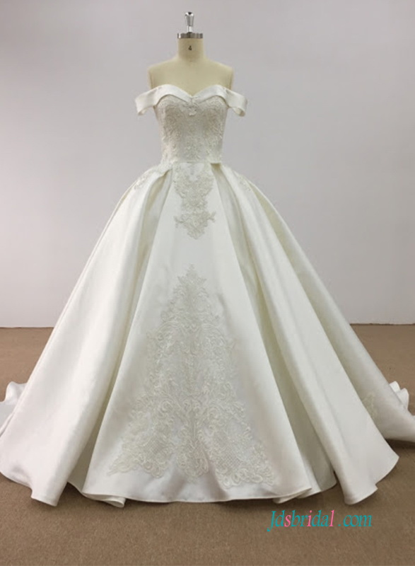 H0599 Elegant off the shoulder ball gown church wedding dress