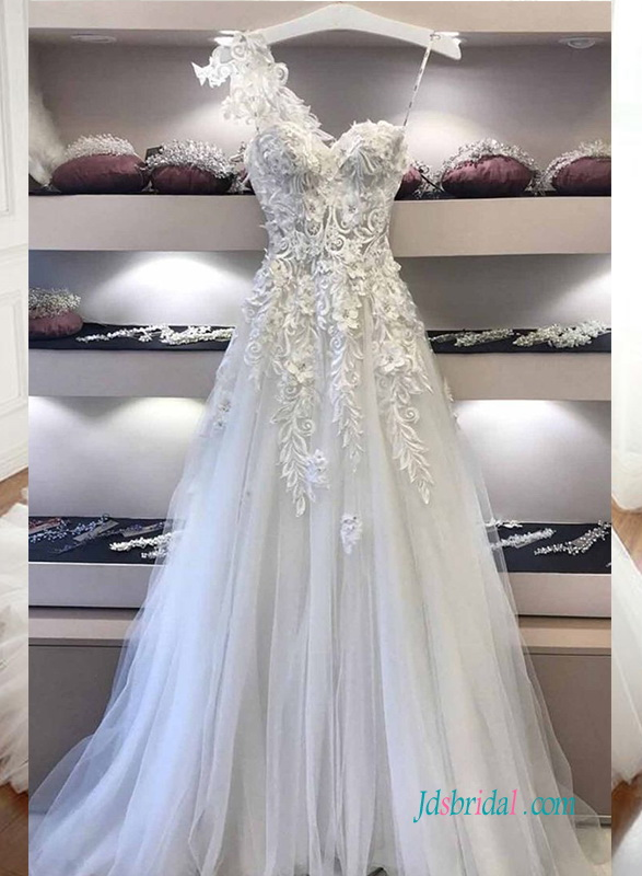 sexy one shoulder goddess illusion lace top wedding dress with tulle bottom