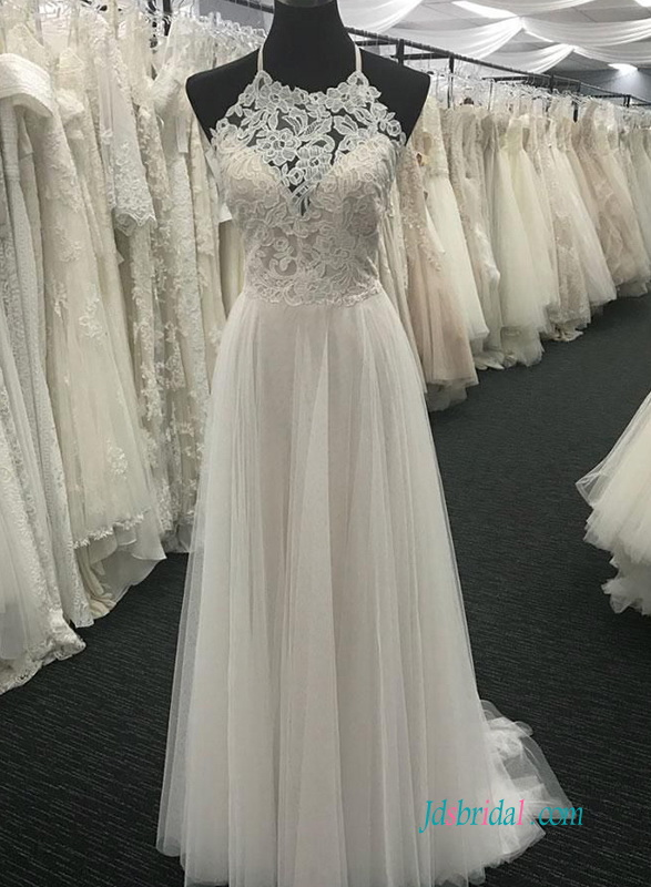 H0604 Ivory and champagne colored halter wedding dress