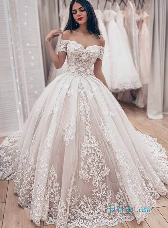 H0606 Romantic ivory overlay blush wedding ballgown dress