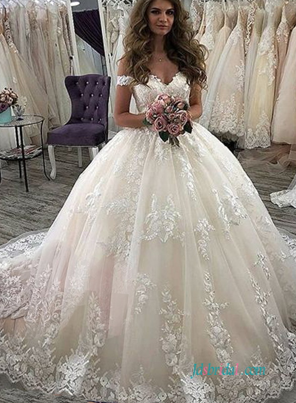 H0607 Sexy off the shoulder princess wedding ball gown dress