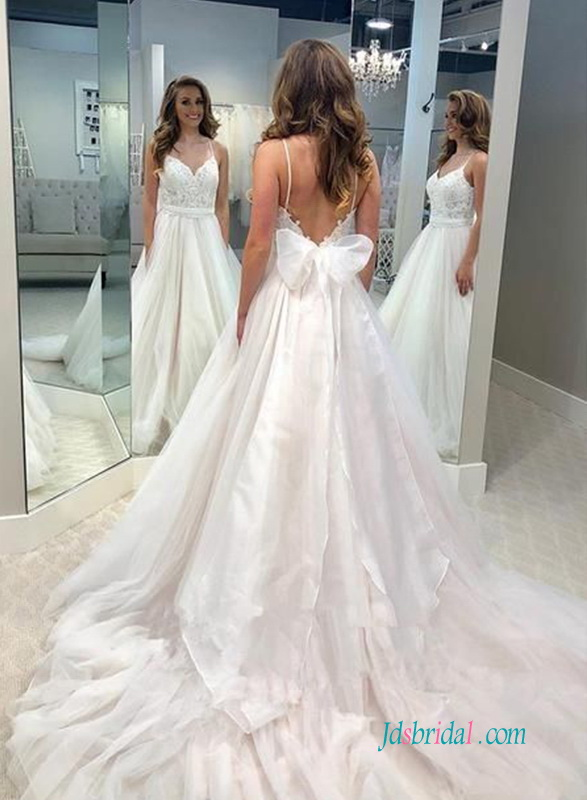 sexy cheap princess wedding dress with low back and lace sweetheart bodice