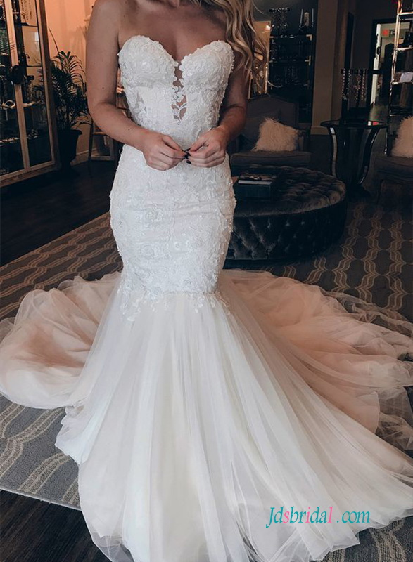 H0615 sexy sweetheart neckline lace mermaid wedding dress