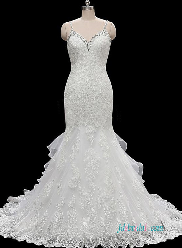 H0616 Gorgeous low back lace mermaid wedding dress