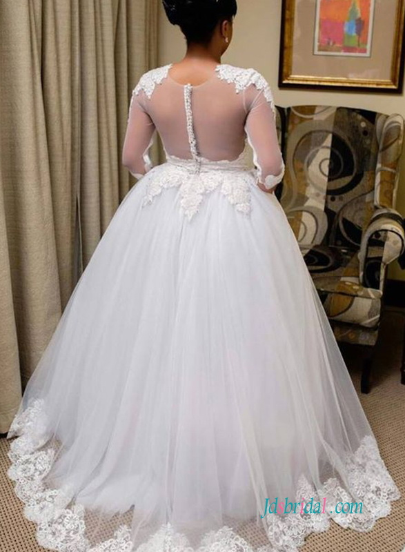 H0618 Sexy sheer tulle back tulle ballgown wedding dress
