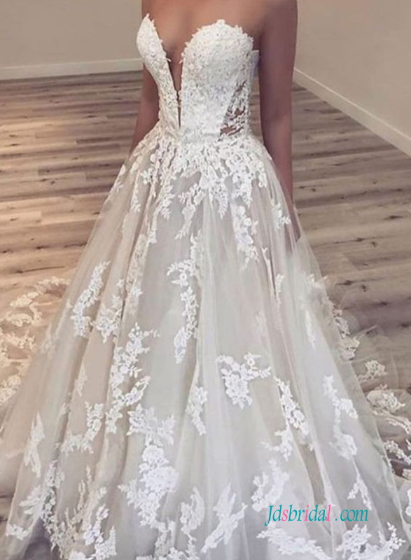 H0620 Sexy plunging lace ballgown wedding dress on sale
