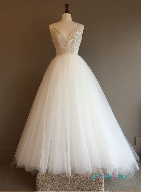 H0622 Light champagne and ivory tulle princess wedding dress