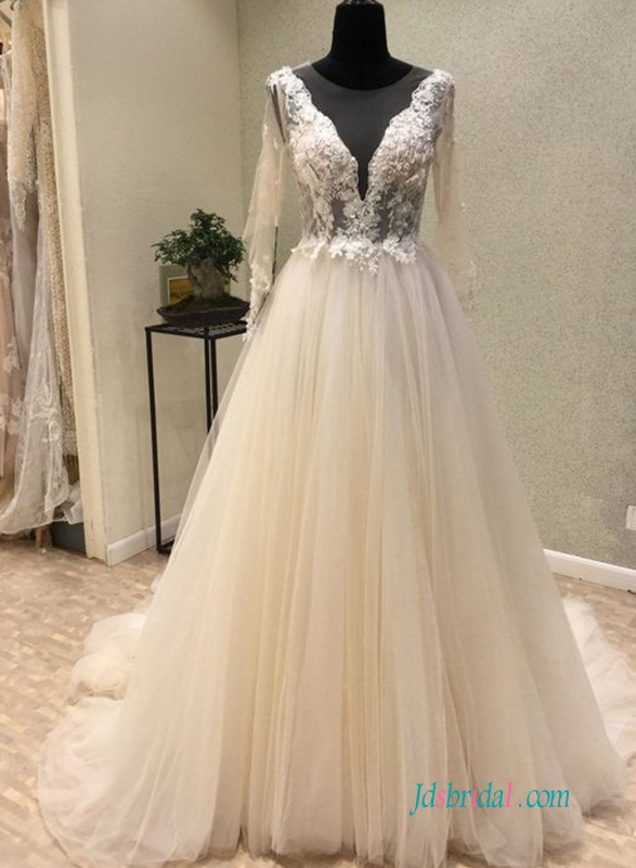H0624 Sexy sheer lace long sleeved wedding ball gown
