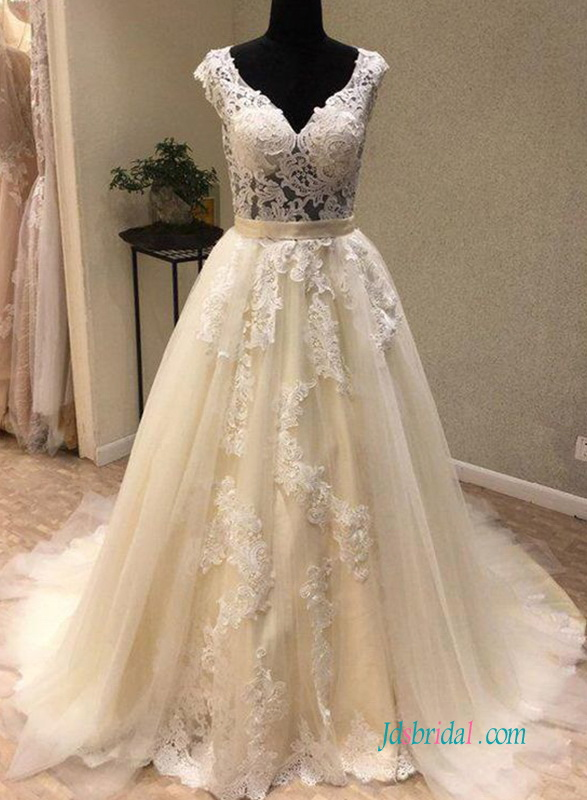 H0629 Sexy champagne illusion lace ball gown wedding dress