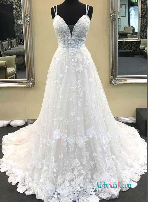 H0633 Floral sweetheart neckline lace wedding dress