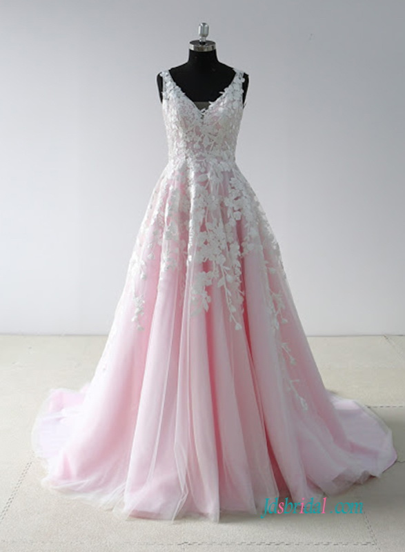 H0636 Pink And White Colored Wedding Dress Ball Gown