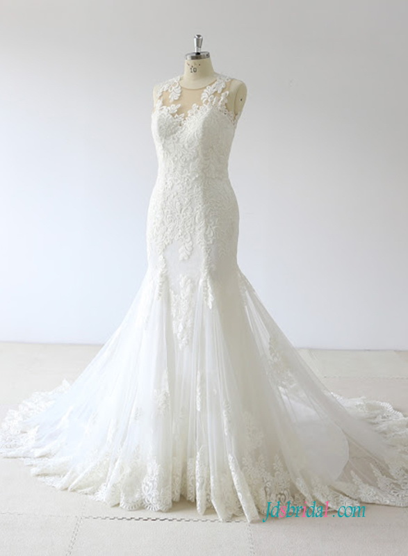 H0642 Beautiful lace mermaid wedding dress for sale