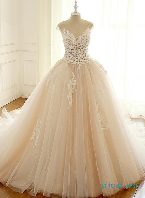 H0651 Champagne illusion lace top ball gown wedding dress