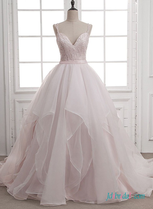 H0659 Pink blush organza ball gown wedding dress