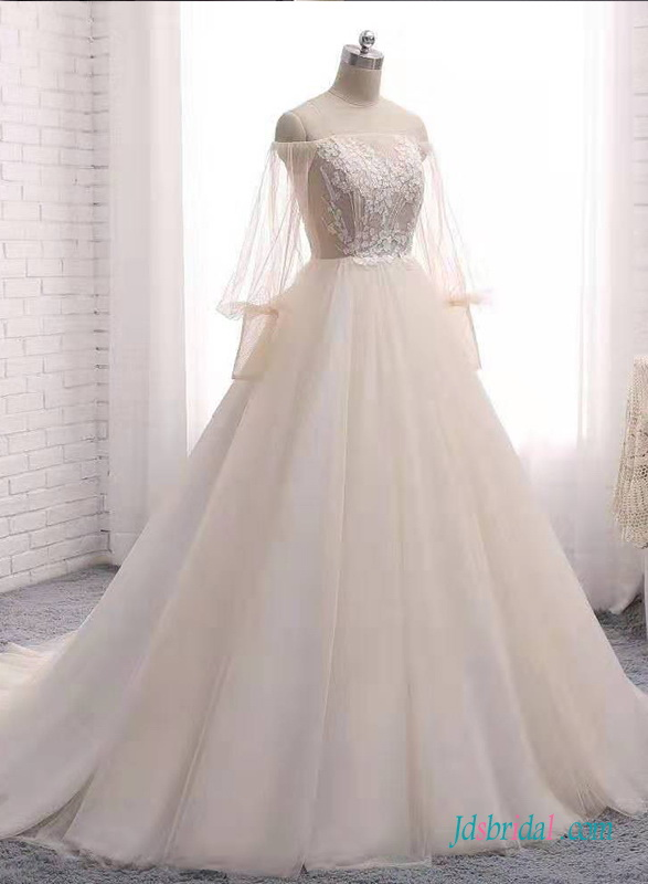 H0665 Romance off the shoulder puffy sleeves princess wedding dress
