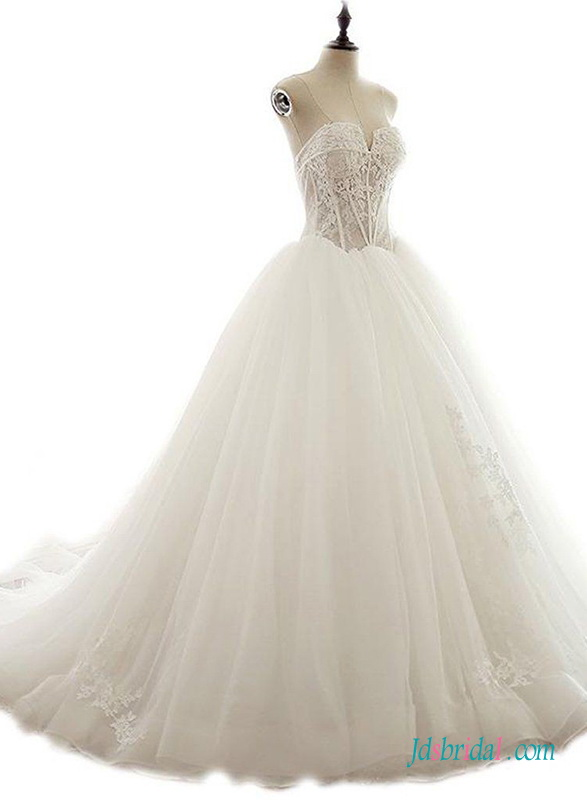 H0666 See through Sweetheart boned bodice tulle princess wedding dress