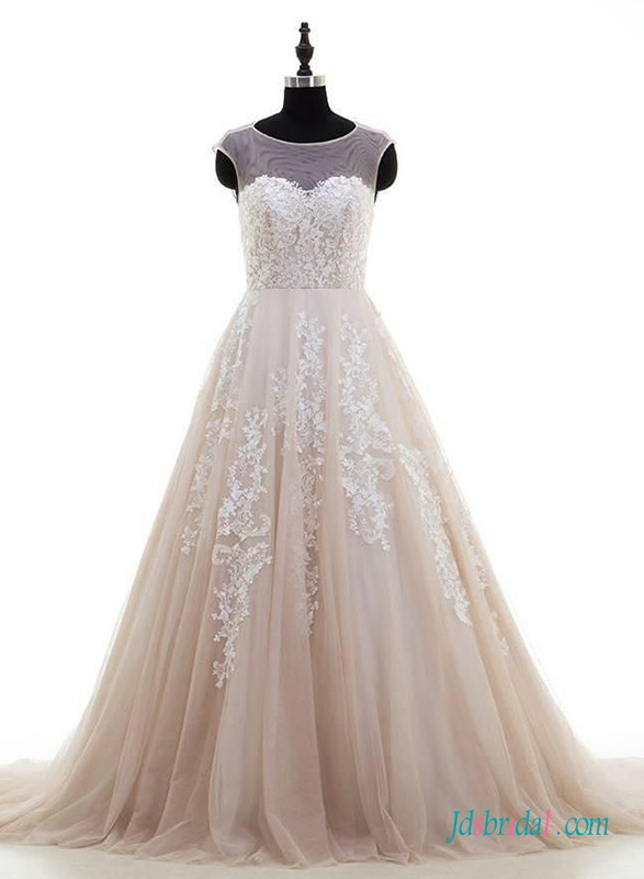 H0667 Nude blush lace tulle princess wedding dress gown