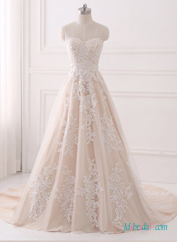 unique 2019 champagne and Ivory color princess wedding dress with sweetheart neckline