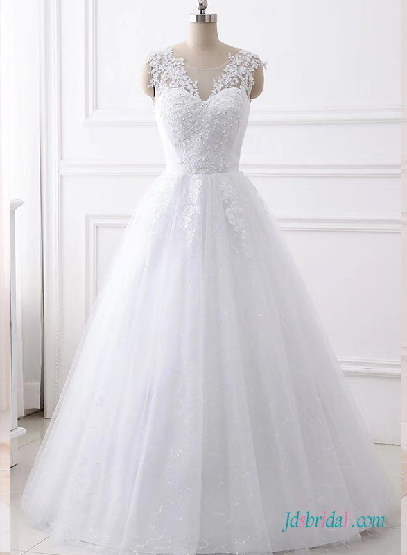 H0672 Beautiful white sparkle tulle princess wedding bridal dress