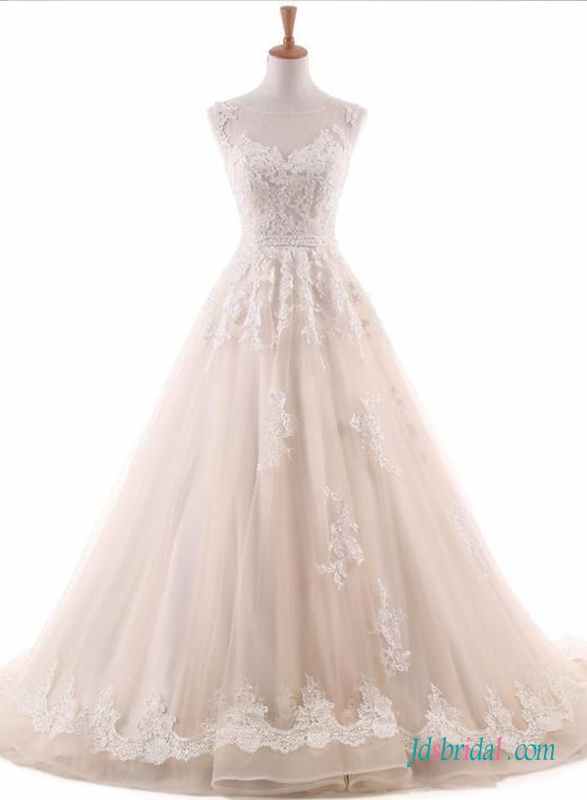 H0677 light nude color tulle illusion wedding dress ball gown