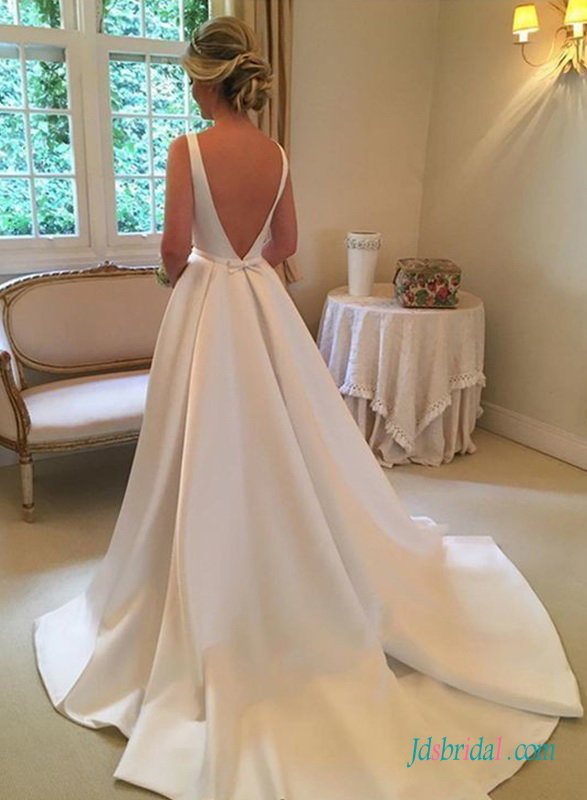 H0685 Simple but chic open back satin wedding dress