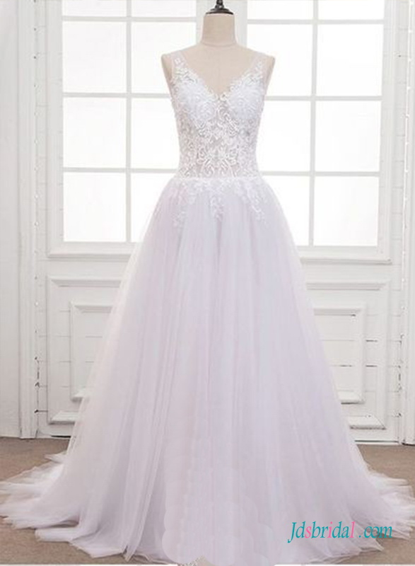 H0687 White organza and tulle sheer back wedding dress