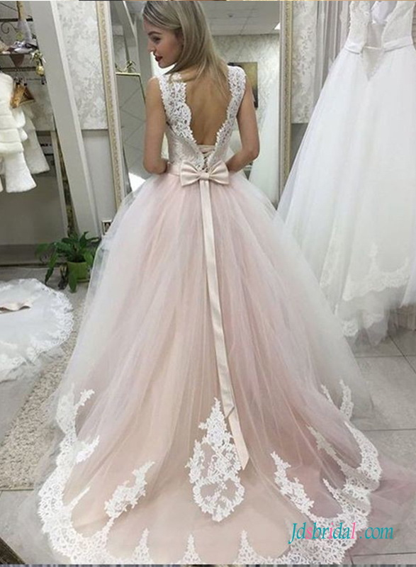 H0689 Pink and white tulle princess wedding ball gown dress