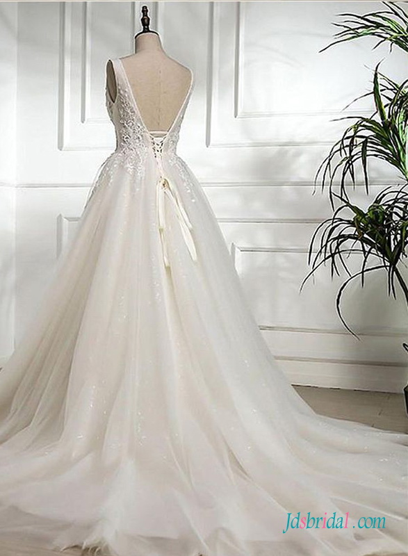 H0691 Romantic puffy tulle princess wedding ball gown