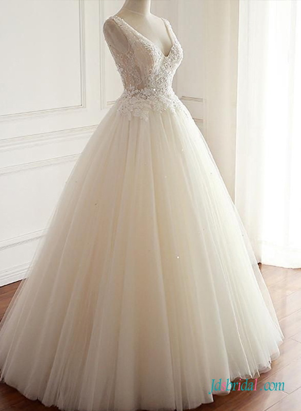 H0693 Sparks Beads lace appliques tulle princess wedding ball gown