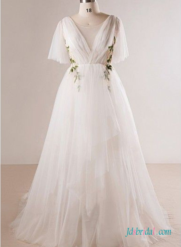 H0694 Soft tulle airy and light tulle destination wedding dress