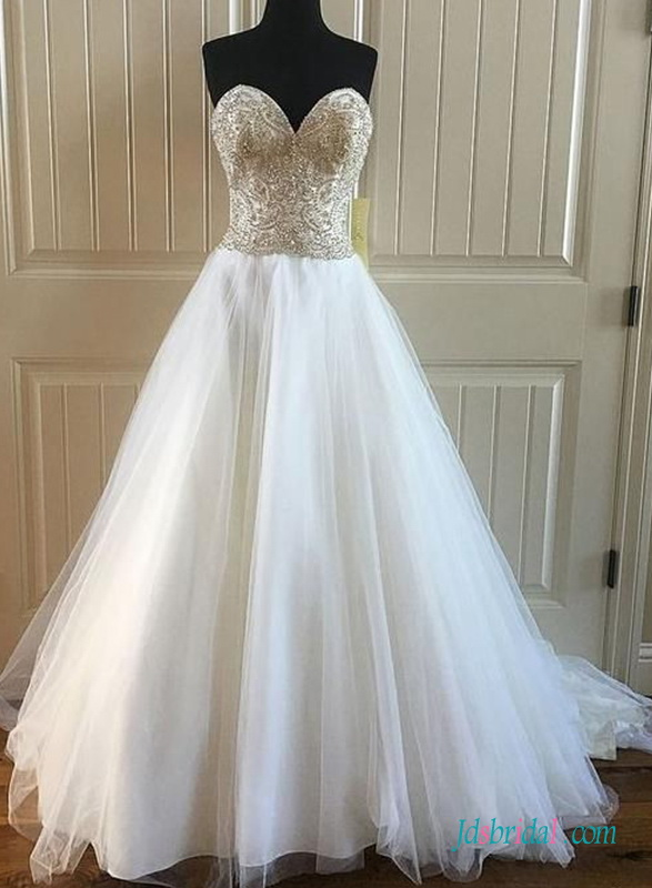 H0697 Gorgeous Champagne top white bottom wedding dress