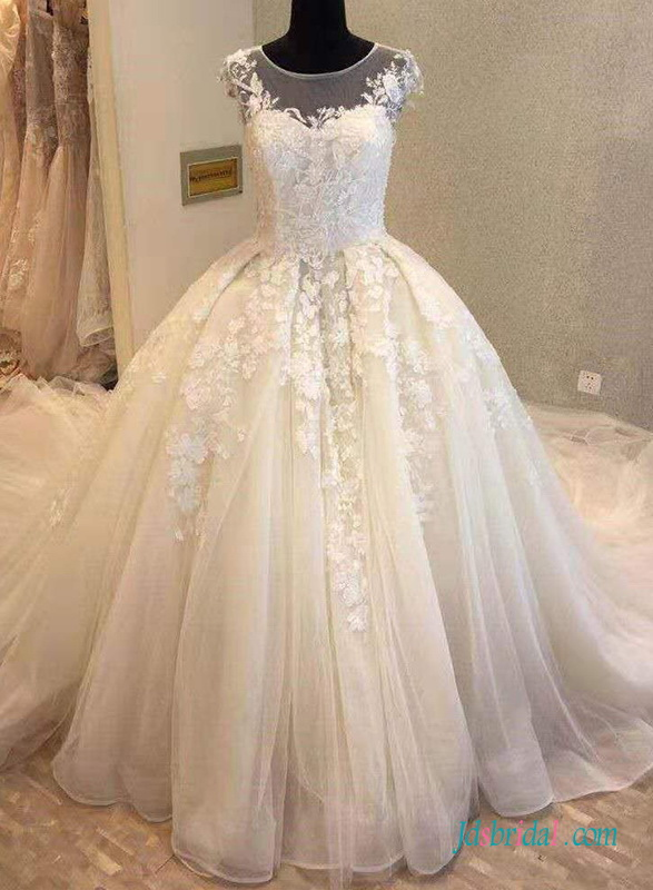 59eb56bfbd4a short/cap sleeves Bridal Gowns,lovely lace tulle wedding dresses ...