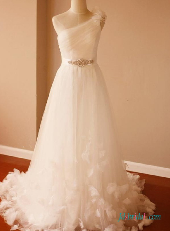 beautiful cheap destination beach wedding dress made out of tulle and with petals