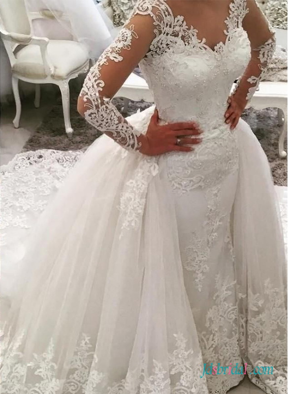 66631d1b0af H0701 Gorgeous long sleeved mermaid with removable skirt wedding dress