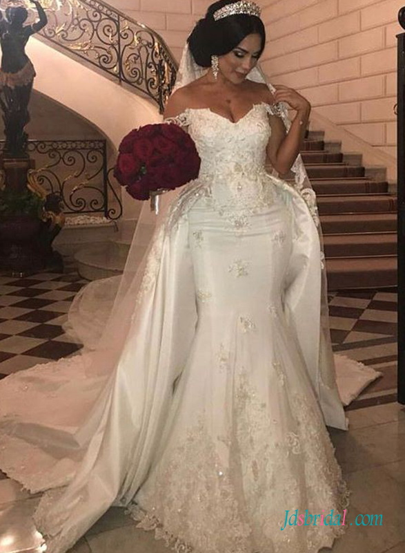 16b3bf73f84 H0702 Sexy off the shoulder mermaid wedding dress with detachable train