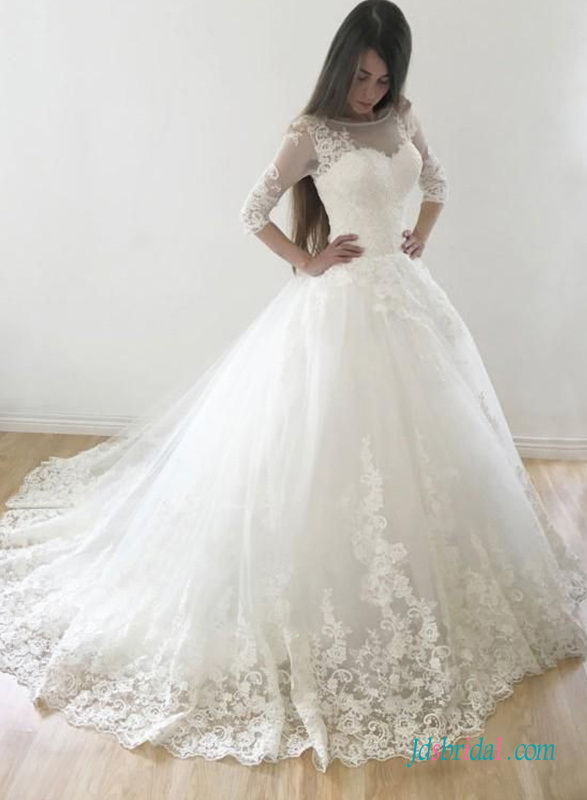 H0703 Modest 3/4 length sleeved princess ball gown wedding dress