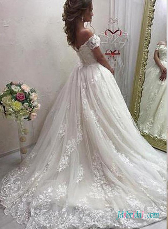 H0704 Romance off the shoulder lace princess ball gown wedding dress