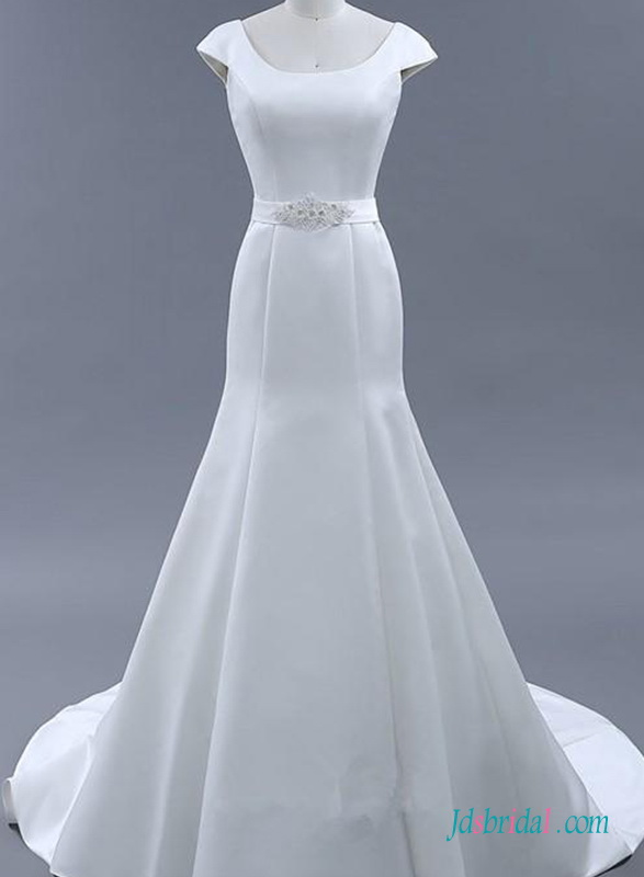 H0706 Simply plain satin mermaid wedding dress with cap sleeves