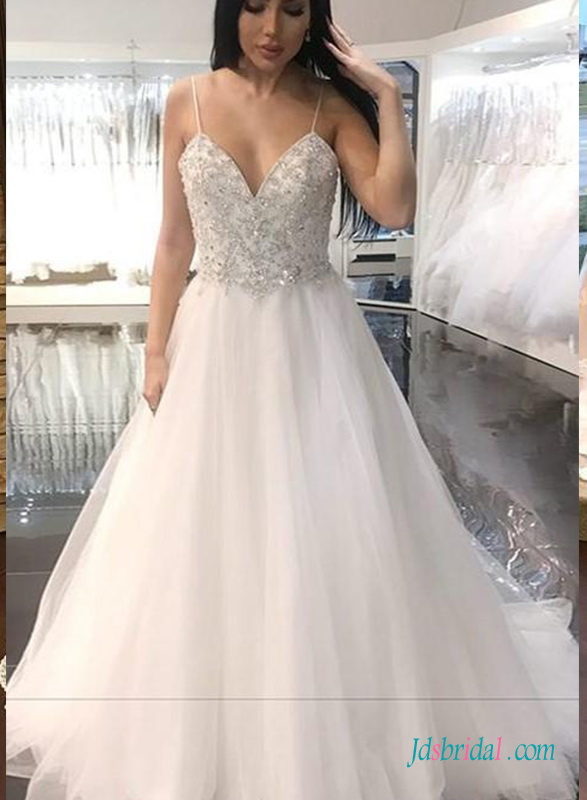 Affordable Cheap China White Ivory Spaghetti Straps Beach Wedding Dresses Bridal Gowns Wedding Reception Dress 2019 With Pockets Weddings & Events