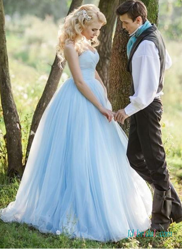 Blue Colored Wedding Dress Pastel Blue Lace Tulle Wedding Gowns Online