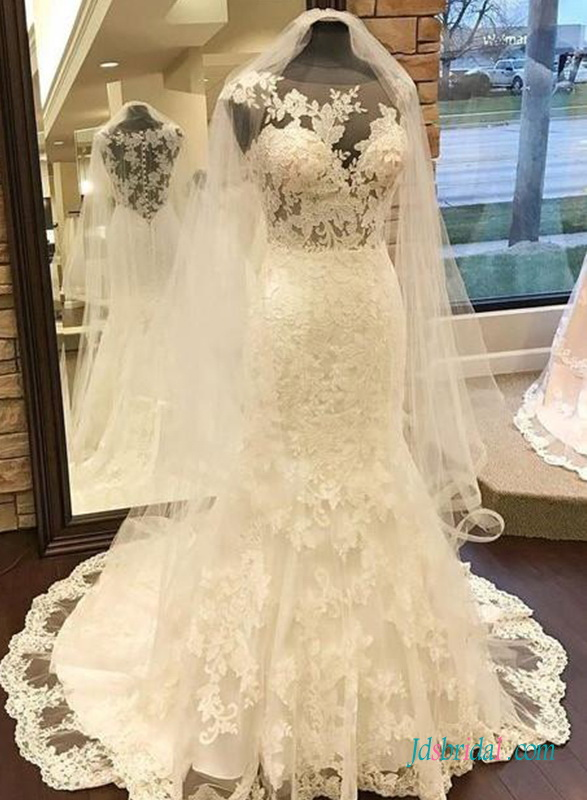H0713 Gorgeous illusion lace mermaid wedding dress